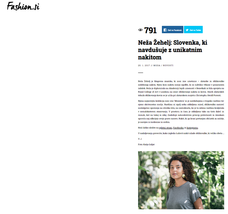 - Article featured on the portal fashion.si