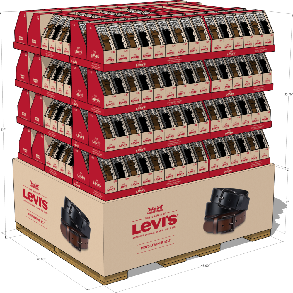 Levi's Belt box pallet for Costco stores