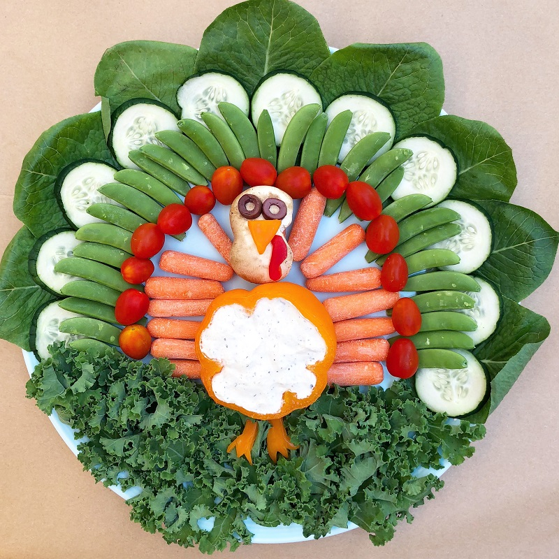 Turkey Veggie Platter for Friendsgiving or Thanksgiving