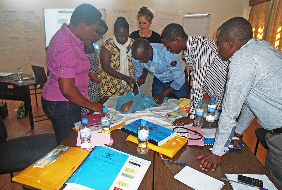 Ancille Musabe/Partners In Health Clinicians discuss improvements in caring for newborns at Rwinkwavu District Hospital in Rwanda.