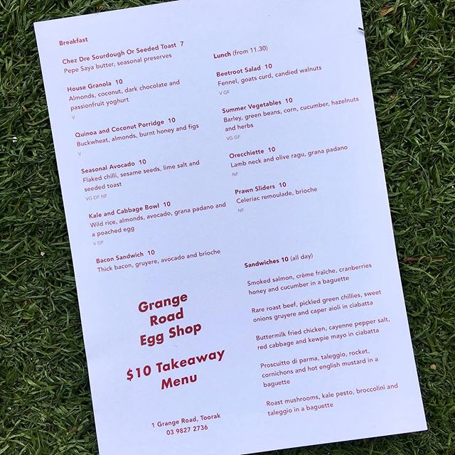 Check out our new $10 dollar take-away menu, we have your lunch times covered!  #notjusteggs #grangerdeggshop