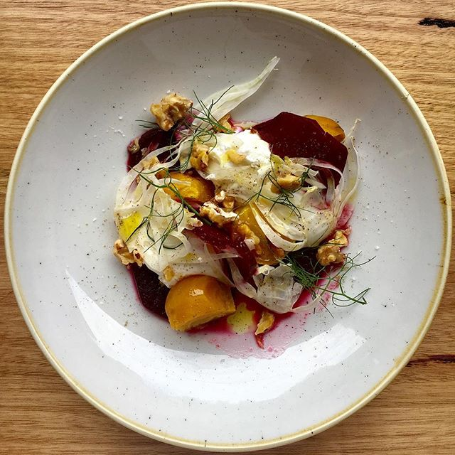 What's for lunch today? Beetroot salad with fennel, goats curd and candied walnuts #notjusteggs  #grangerdeggshop