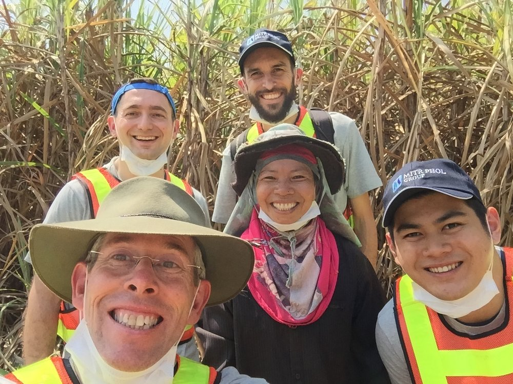 Done up like sore toes in our safety gear, we coaches and the Nestle Responsible Sourcing Team had a great experience learning how to cut cane with this lovely Thai lady.