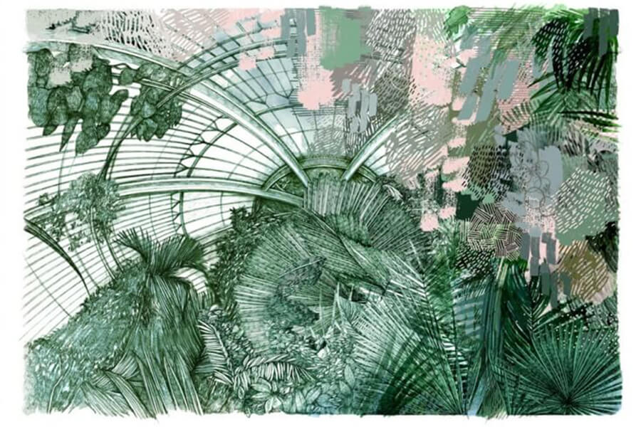Lucille Clerc,  Kew Palms  Four later CMYK screen print, Printed on Heritage white 310gsm paper Limited edition screen print of 25, 59 × 78 cm
