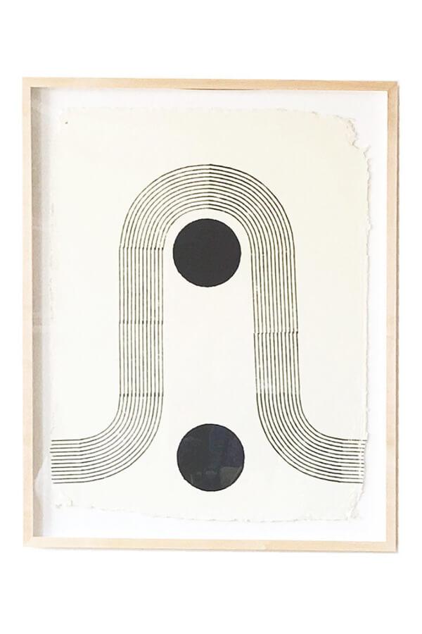 Block Textiles,  Sunwinder   Large woodblock print natural black dye on handmade cotton rag paper 89 x 66cm