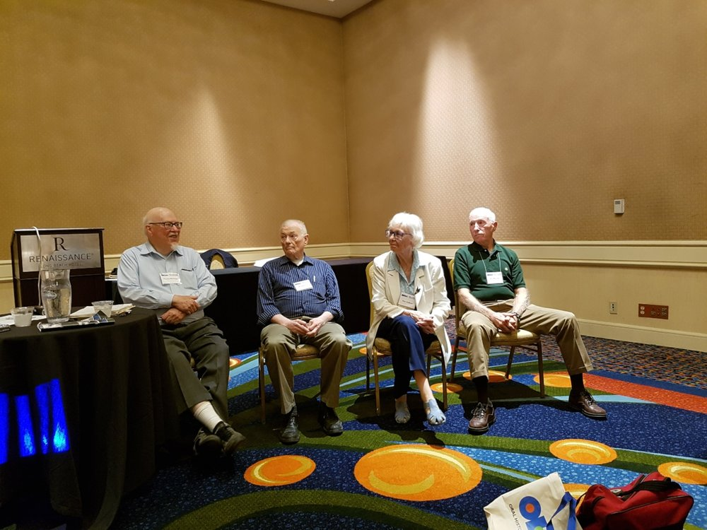 Oral history veterans: (L to R) Charlie Morissey, Ron Grele, Alice Hoffman, and Ron Marcello.