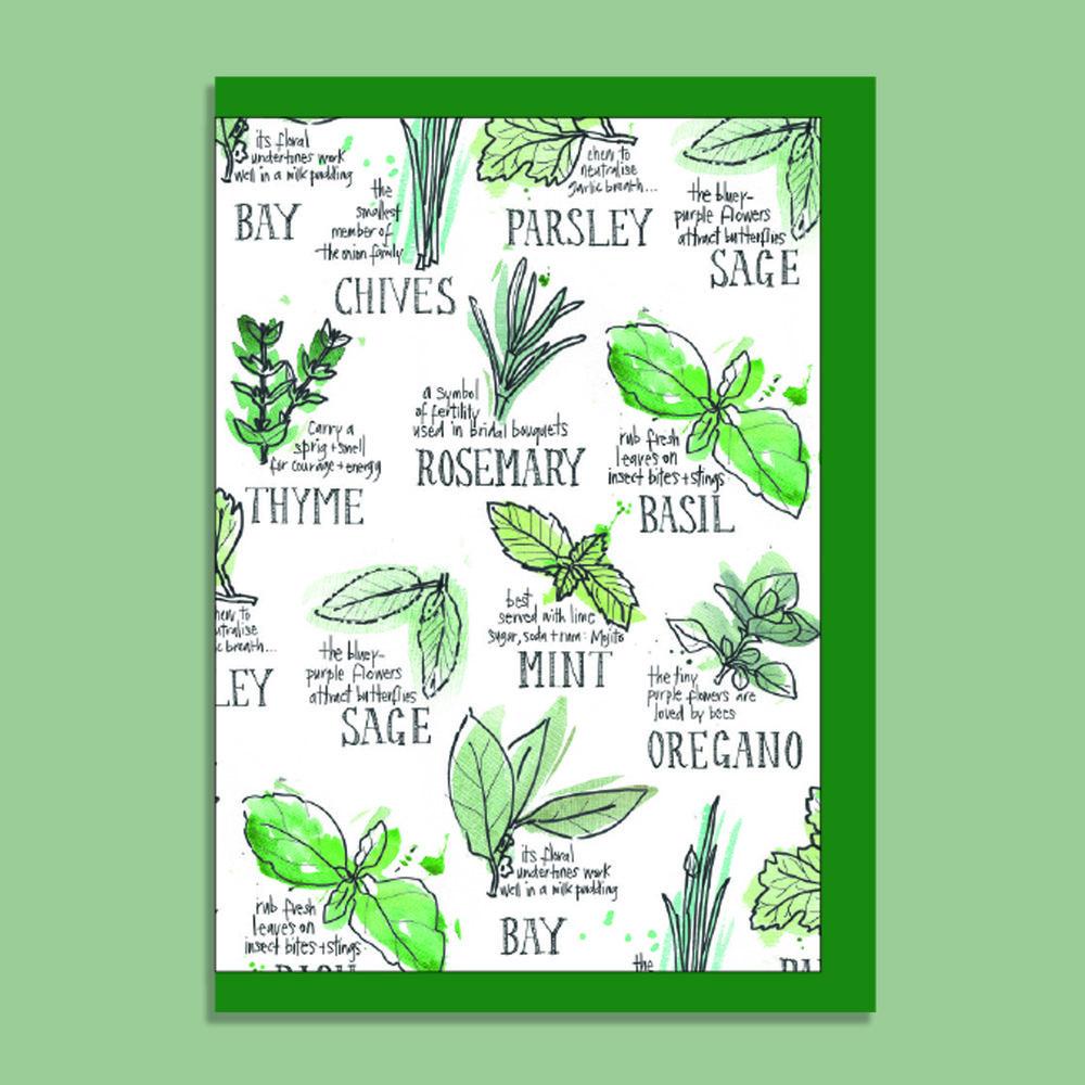 EAT HERBS' TEA TOWEL — Rebsville Art Studio: Illustration