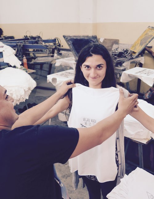 Paulina and Jose checking the shirts :)