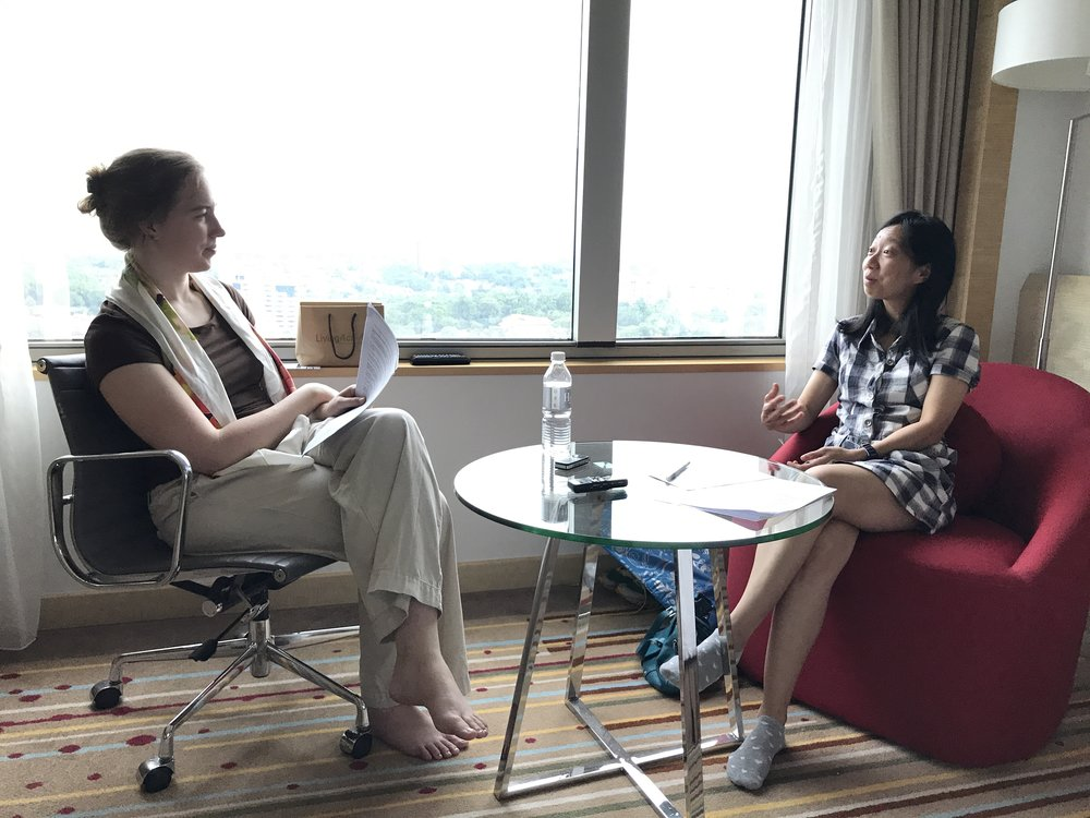Jennifer DeBoer interviewing a practicing engineer in Johor Bahru.