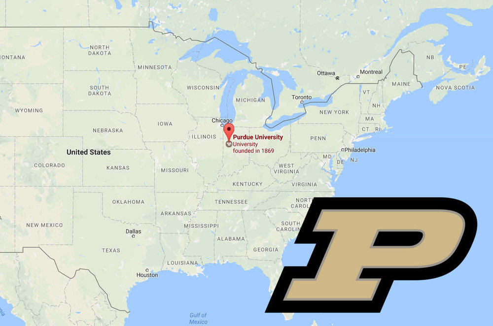 Map of U.S. with locator pin at Purdue University