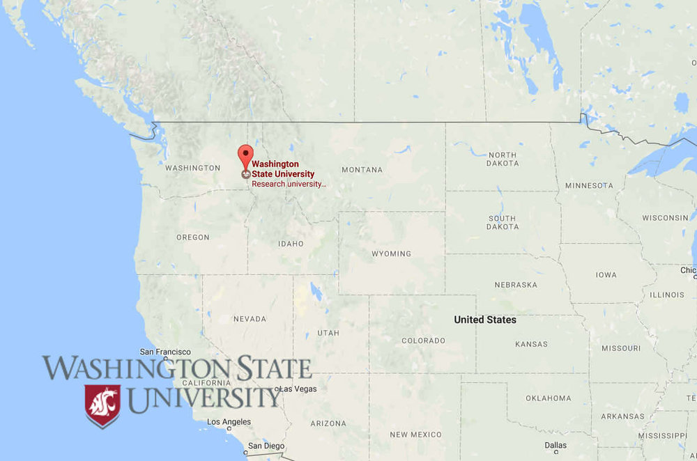 Map of U.S. with locator pin at Washington State University