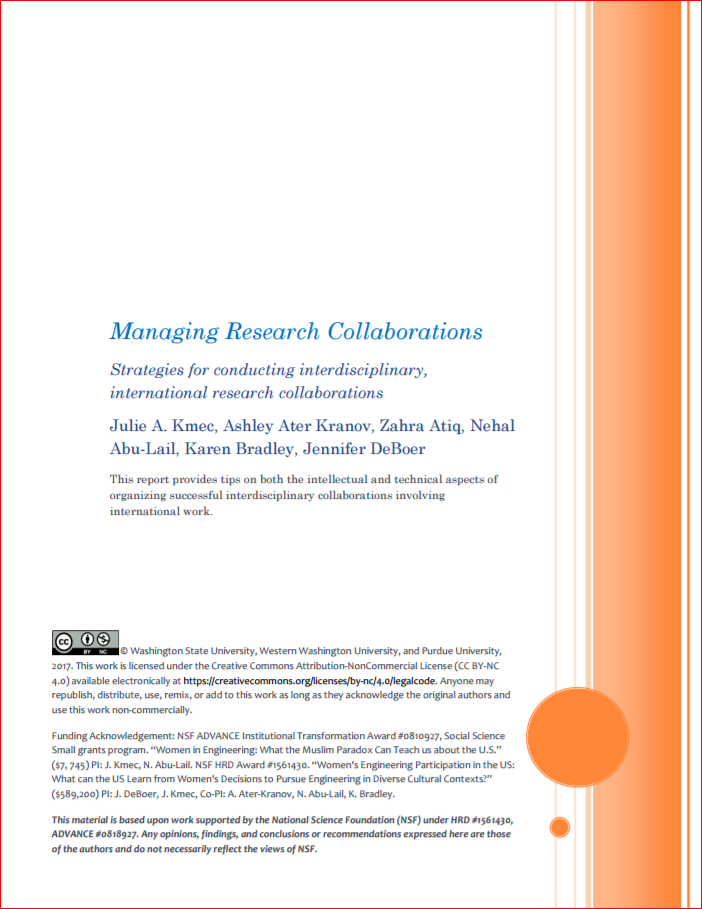 "first page of linked PDF, ""Managing Research Collaborations"". Links to PDF."