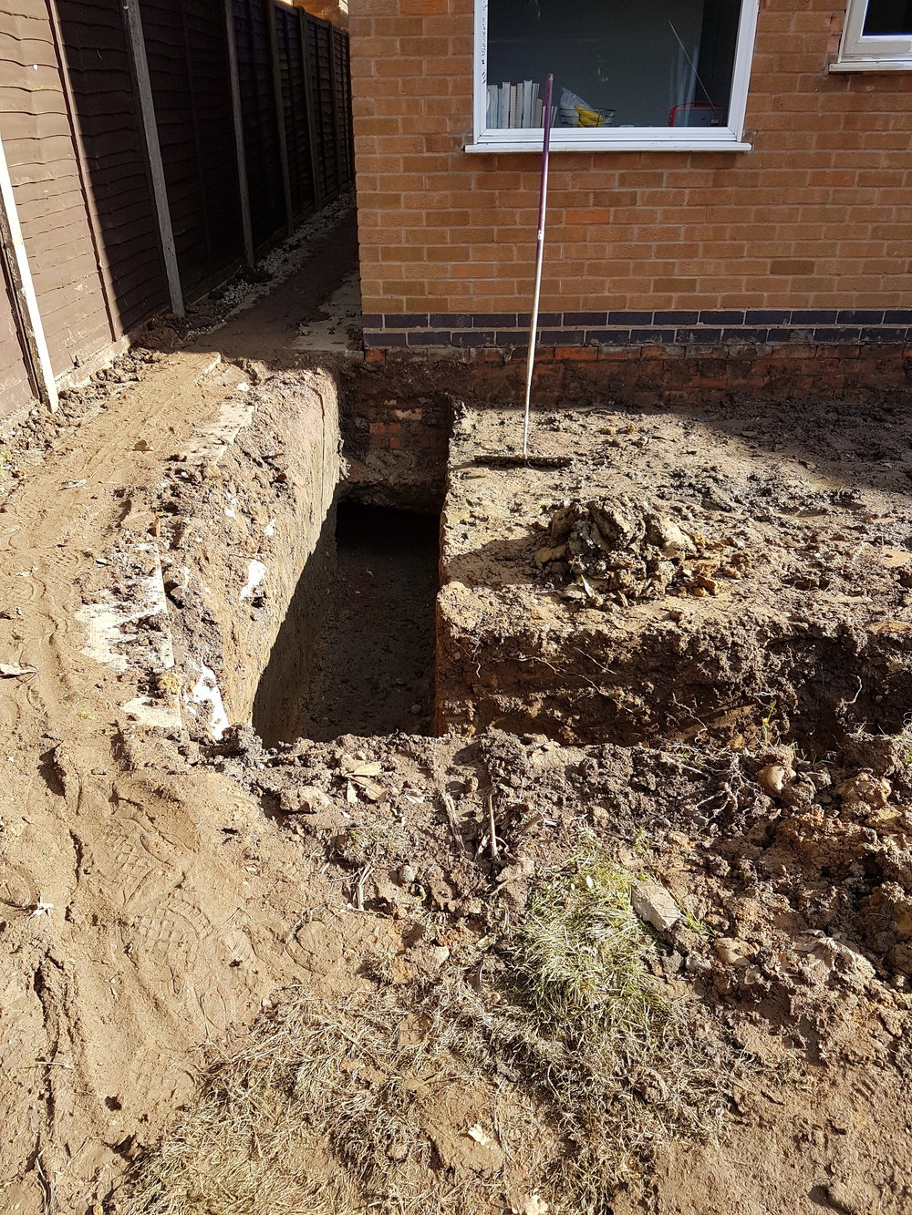Digging the trenches for 1.3m footings