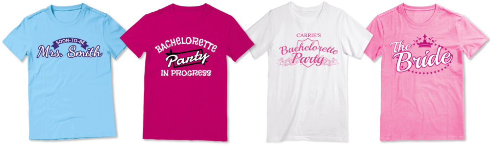 Custom bachelorette party shirts with an assortment of fun designs