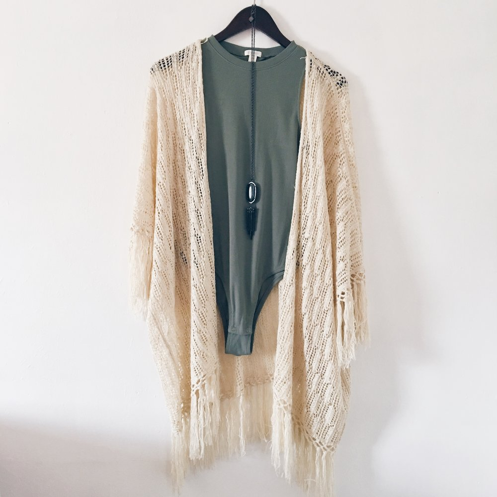 Cream Shawl and Green Bodysuit