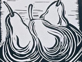 2 Pears | Block Print , 6 x 4 in | $150