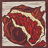 Red Pomegranate | 4-Color Block Print, 6 x 6 in | $250