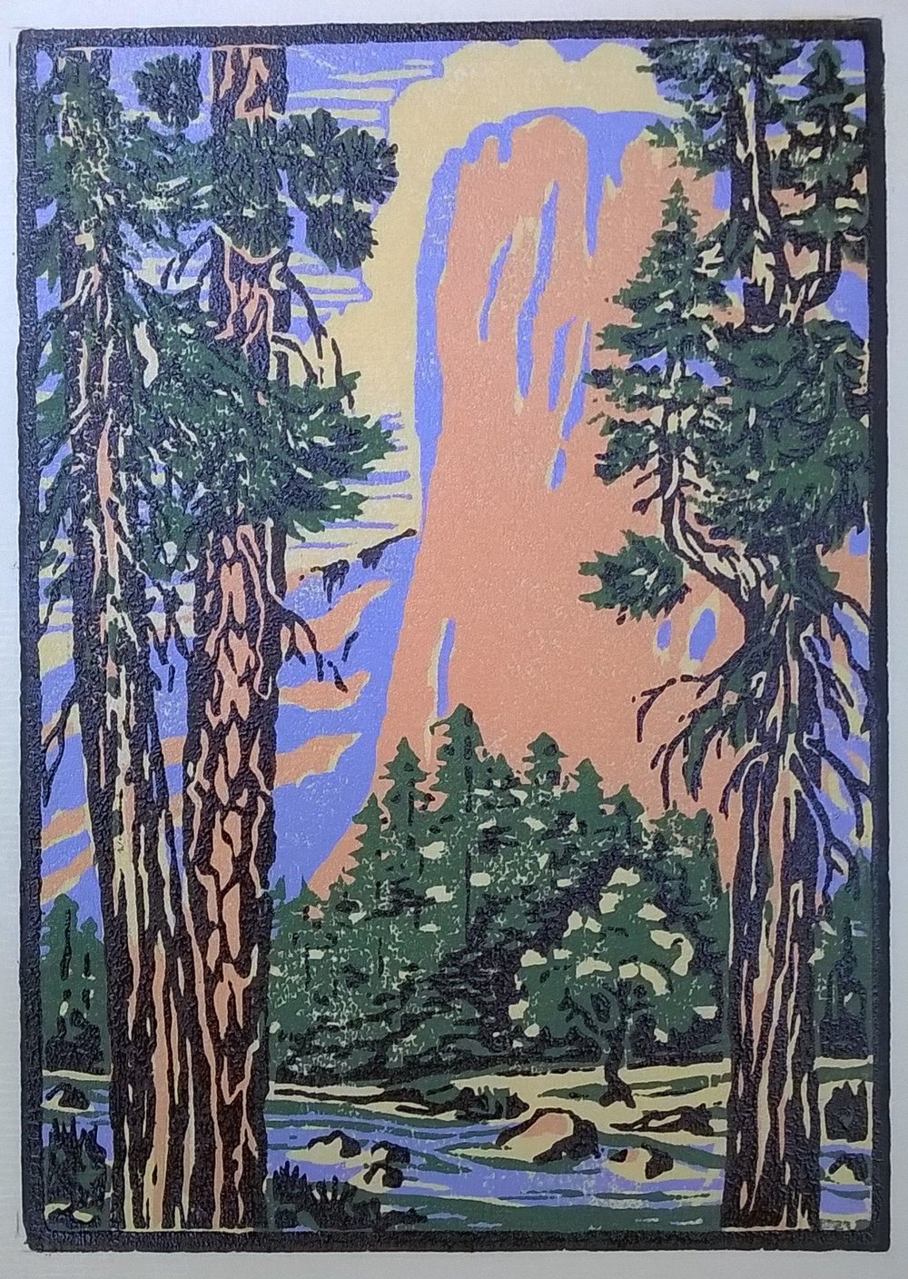 El Capitan | Della Taylor Hoss Woodcut | Printed by Martino Hoss | 5.25 x 7.5 in | $250