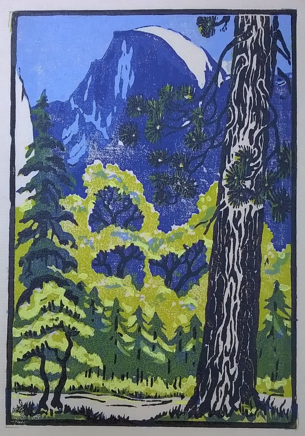 Half Dome Spring, Yosemite | Della Taylor Hoss Woodcut | Printed by Martino Hoss | 5.25 x 7.5 in | $250