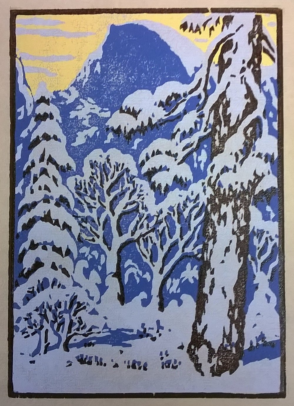 Half Dome Winter, Yosemite | Della Taylor Hoss Woodcut | Printed by Martino Hoss | 5.25 x 7.5 in | $250