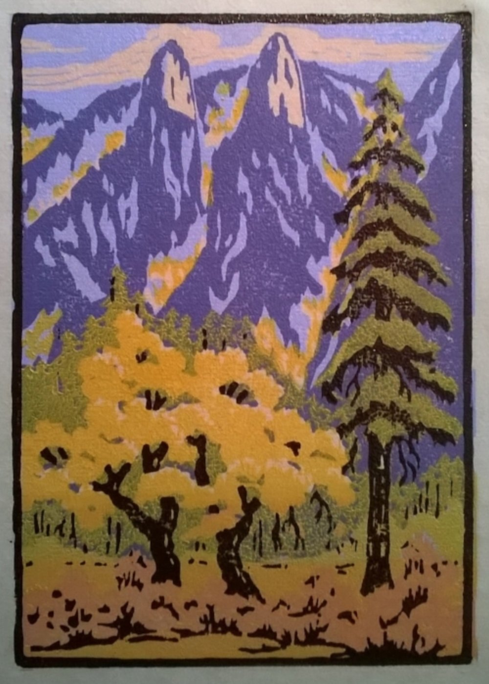 Cathedral Spires Fall | Della Taylor Hoss Woodcut | Printed by Martino Hoss | 5.25 x 7.5 in | $250