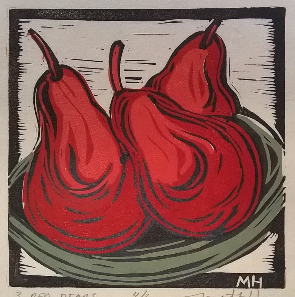 3 Red Pears | Block Print, 6 x 6 in | $225