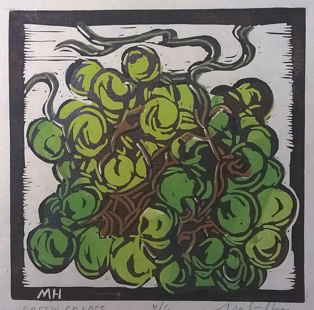 Green Grapes | Block Print, 6 x 6 in | $225
