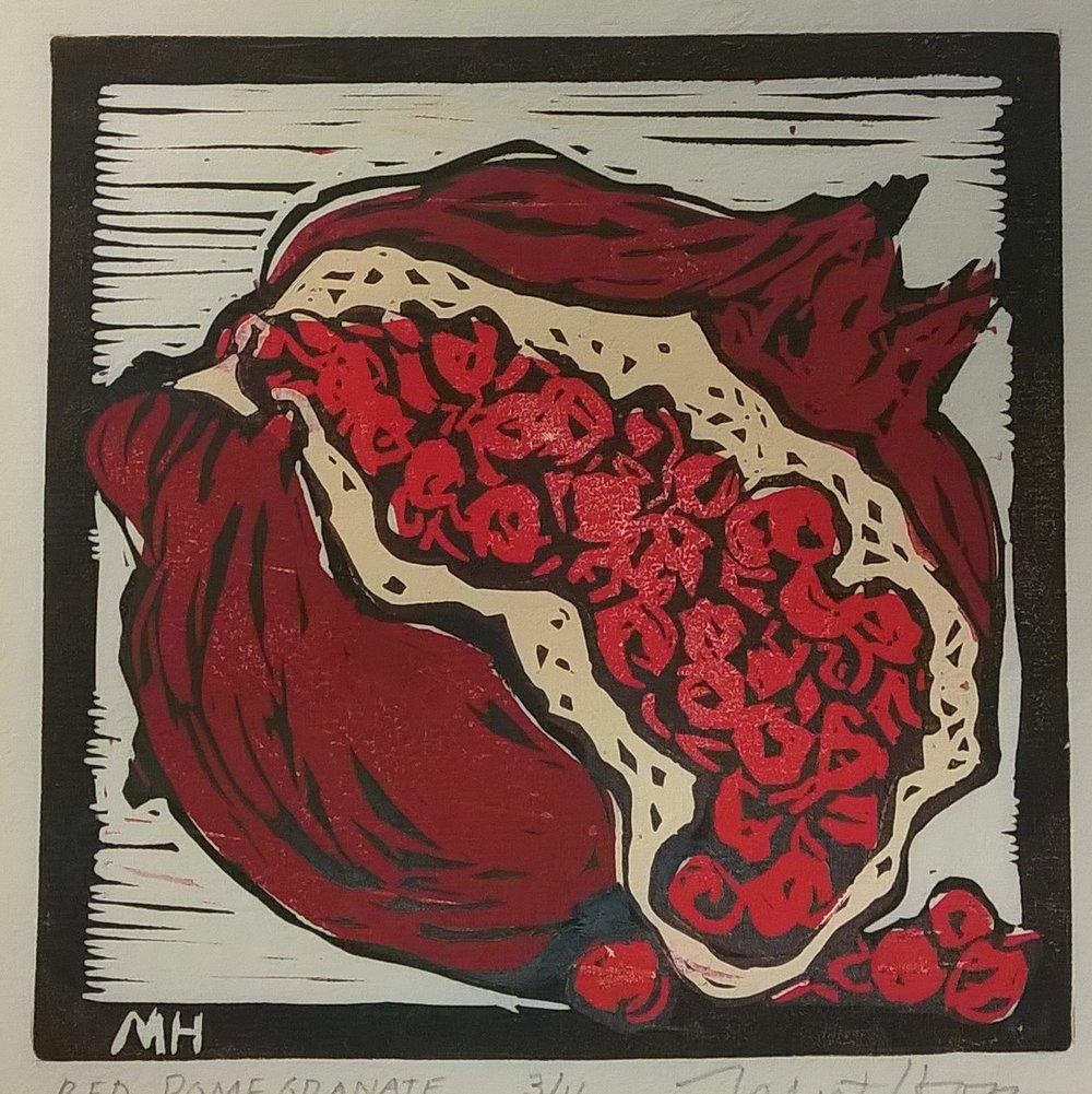 Red Pomegranate | Block Print, 6 x 6 in | $225