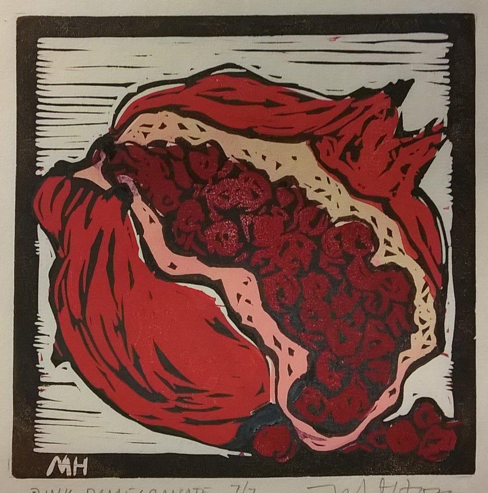 Pink Pomegranate | Block Print, 6 x 6 in | $225
