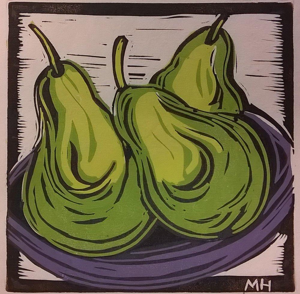 3 Green Pears | Block Print, 6 x 6 in | $225