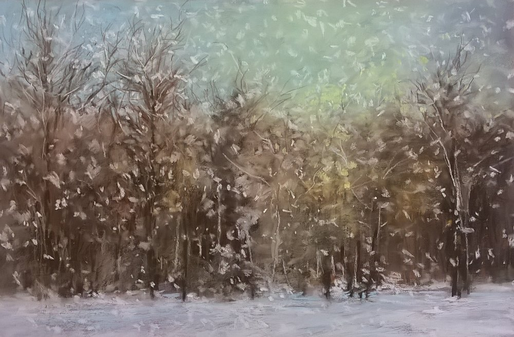 Flurries | Pastel on Copper, 18 x 12 in | 29.25 x 23.50 in framed | $1,150