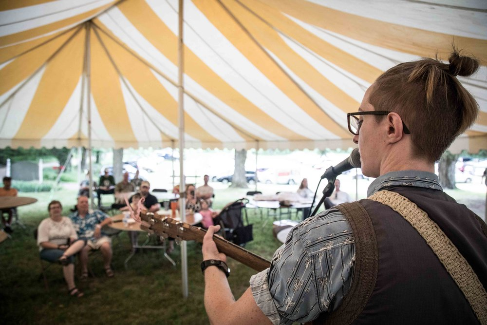 Brit Kusserow Performing in the tent at Buttermilk Jamboree Music Fest