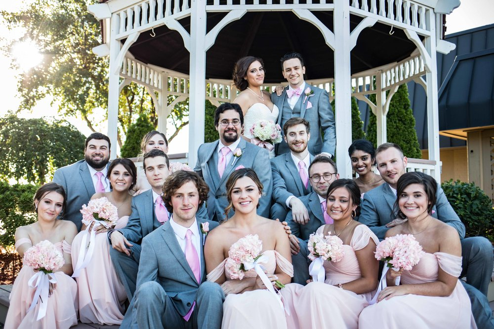 entire wedding party in a gazebo
