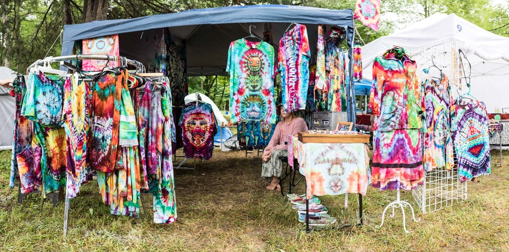 a panorama of tie dye clothes for sale