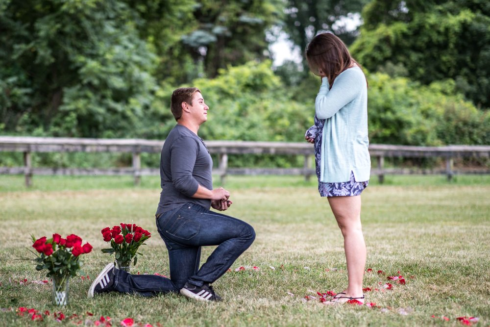 Girlfriend says yes to her boyfriends proposal and starts to cry