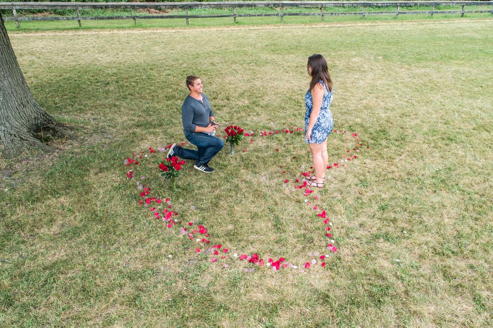 aerial photo of man proposing to his girlfriend in the center of a heart made of flower pedals