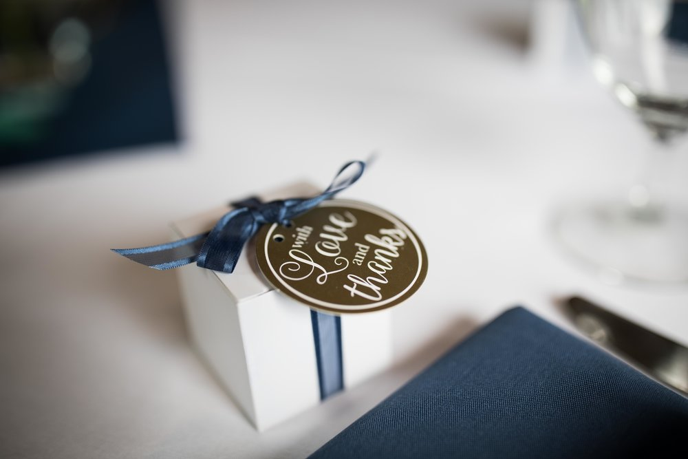detail photo of party favor, a gift box that says with love and thanks