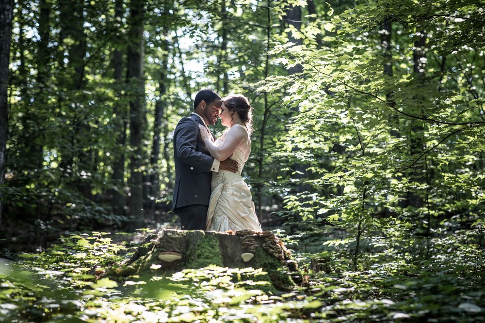 dramatic photo of bride and groom in the forest with a streak of light shining on them through the trees