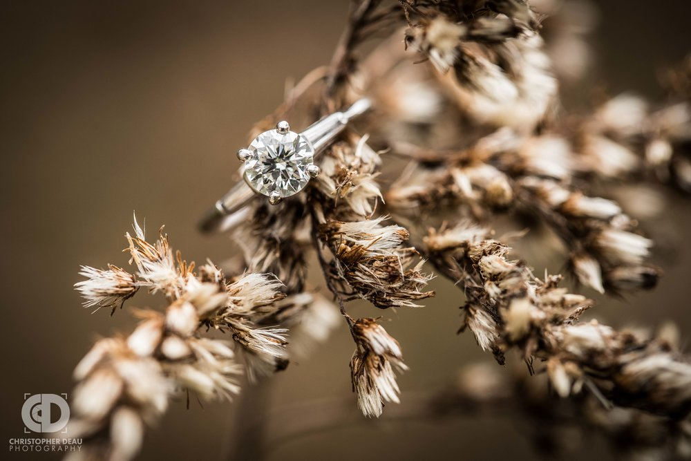 Macro engagement ring photo in a tall grass prairie