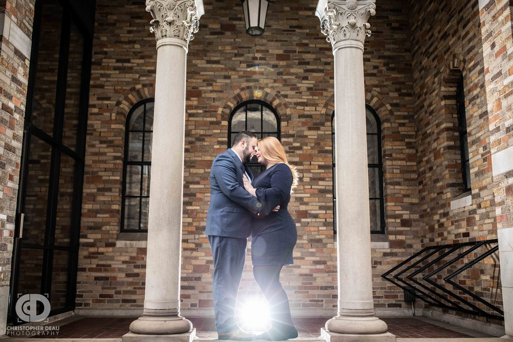 Unique engagement session photo at the fountain street church in Grand Rapids