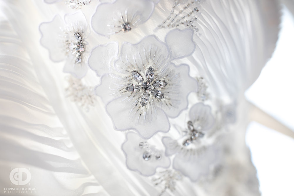 White wedding dress close up detail