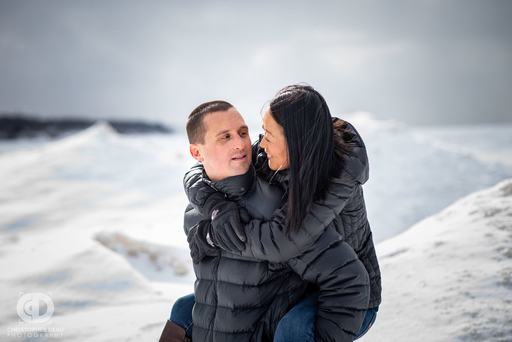 Southwest Michigan winter engagement photos