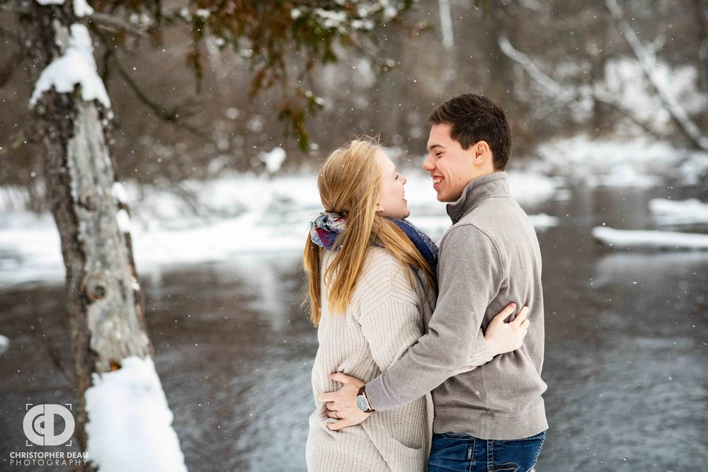 Michigan winter stream in Kalamazoo for engagement session