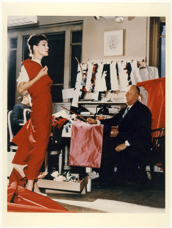 Christian Dior with model Lucky circa 1955. Courtesy of Christian Dior