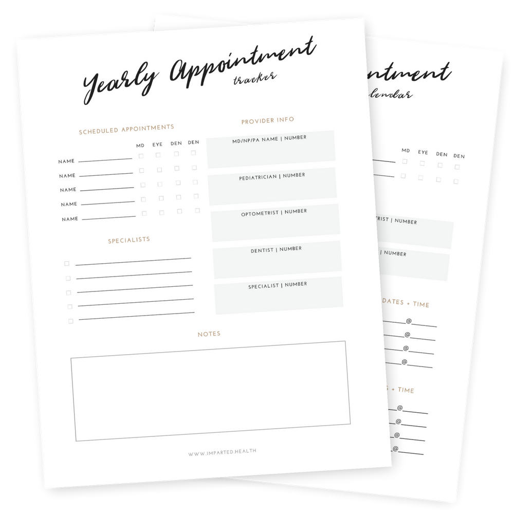 Annual Appointment Calendar