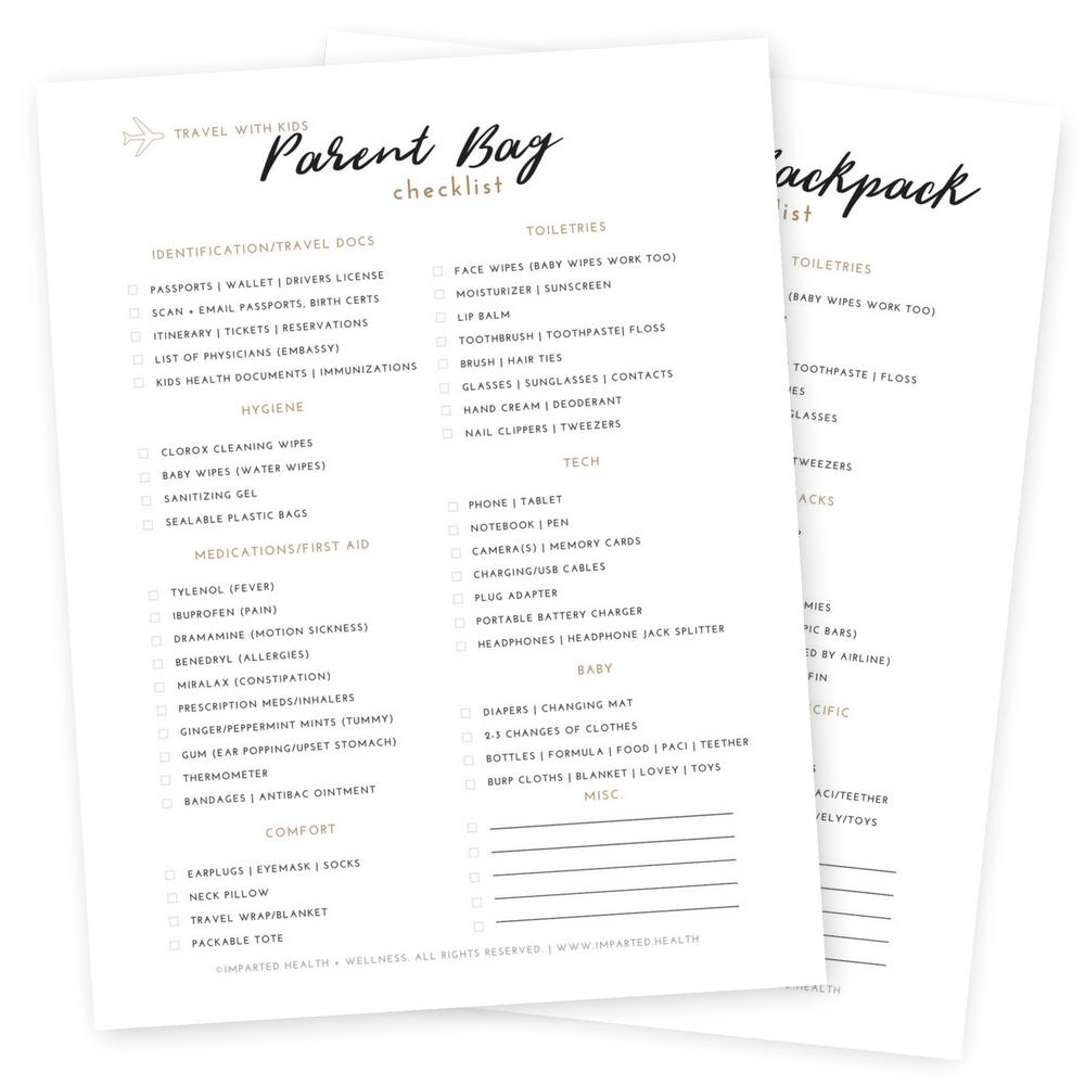 Parent and Kid Travel Checklist