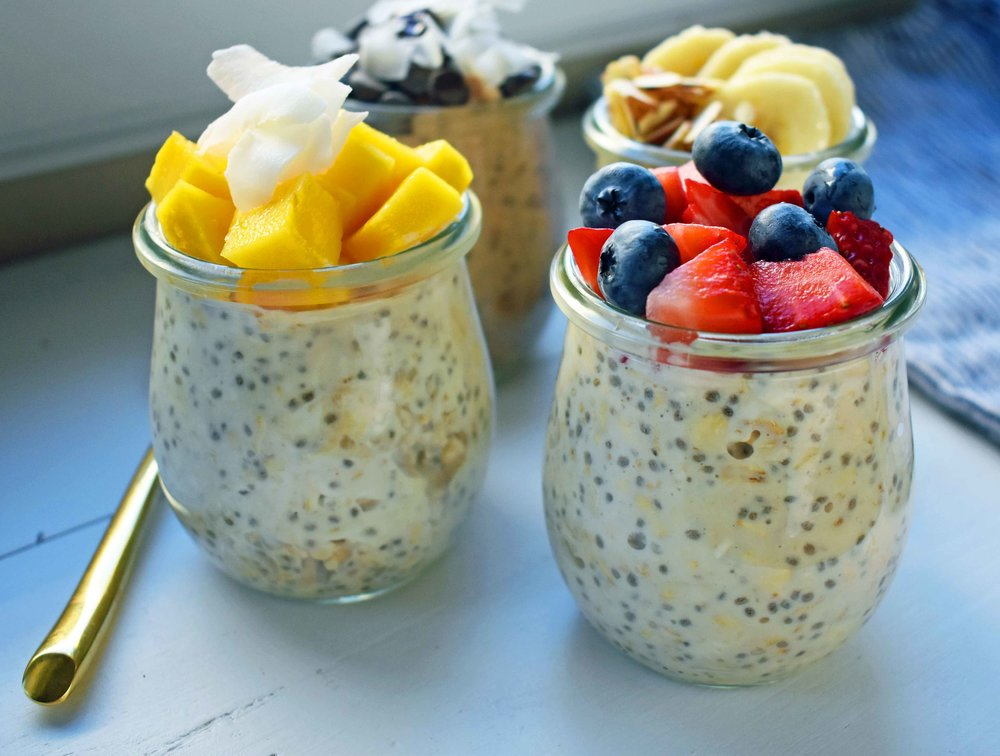 Overnight Oats with Super Food Acai and Fresh Fruit