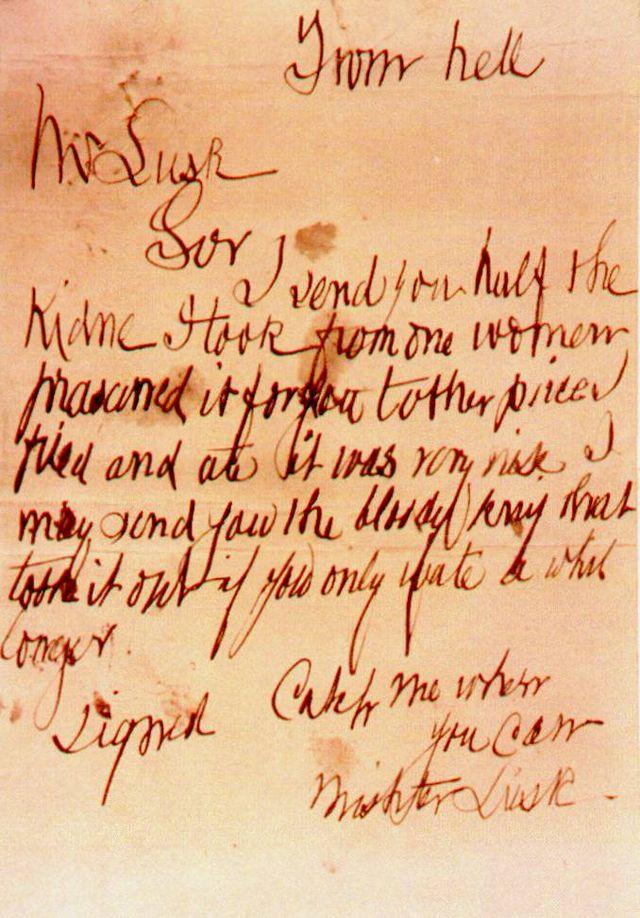 From Hell-brevet som tros vara från Jack the Ripper, poststämplas 1888.