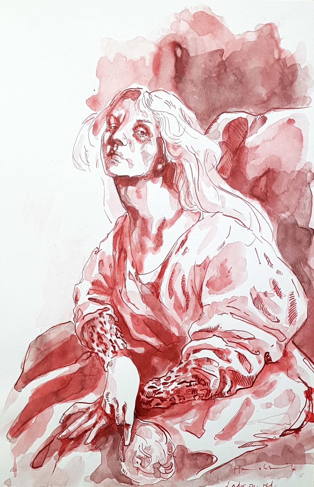 Röda damen  - Tusch på papper800:-