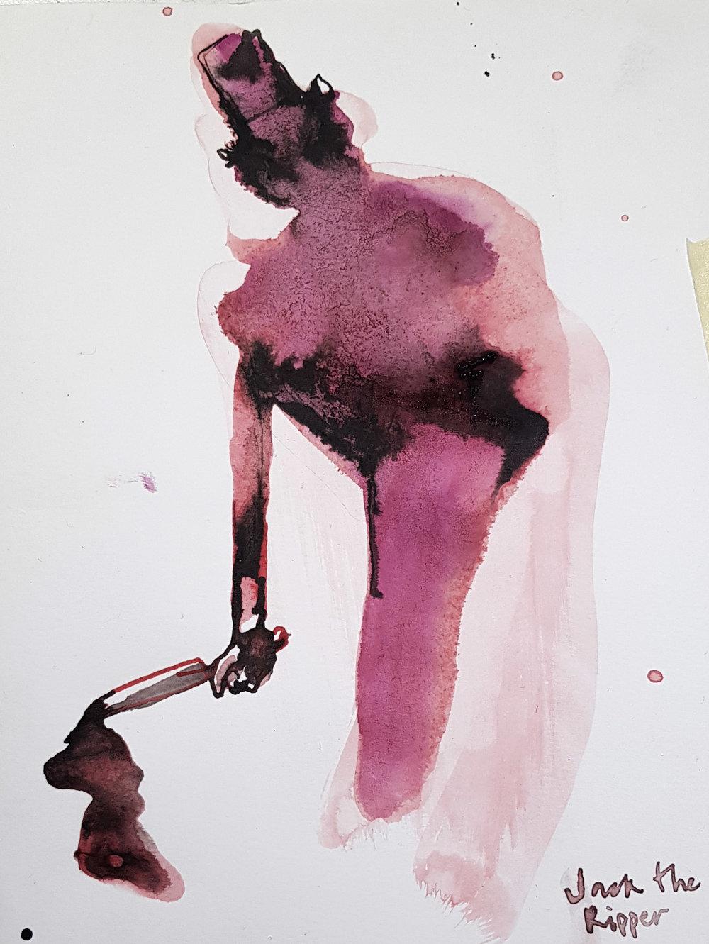 Jack the Ripper - Tusch på papper, 13x20 cm500:-